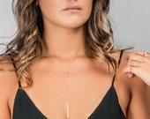 Dainty Lariat Necklace, Delicate Y Necklace, Gold Lariat, Silver, Rose Gold Necklace, Simple Layering Necklace, Dainty Gold Chain