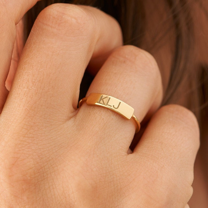 Bridesmaid 14K Gold Color Dainty Name Ring Birthday Gift Custom Stacking Name Ring for Her Gift For Mather, Personalized Name Ring