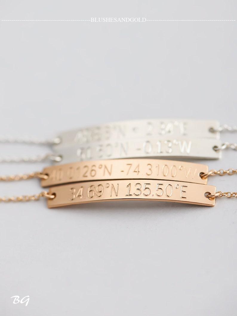 Engraved Bracelet Graduation Gift Personalized Coordinates Bracelet Latitude Longitude Bracelet Gift for Her Bridesmaid Gift