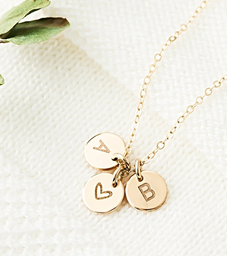 Personalized Initials Necklace Custom Initials Disk Mothers image 5