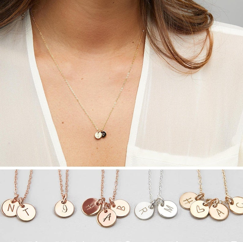 Personalized Initials Necklace Custom Initials Disk Mothers image 0