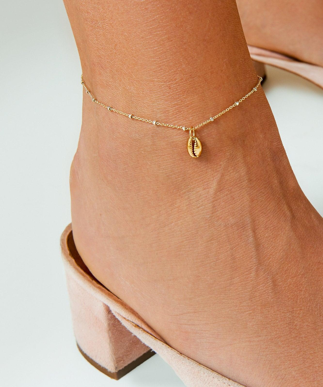 Delicate Chain Anklet • Gold Puka Shell Anklet • Puka Anklet Chain •  Seashell Anklet • Anklet Bracelet • Anklet Bead Bracelet