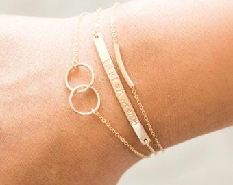 Personalized Bracelet, Engraved Bar Bracelets, Stacking Bracelet, Bridesmaid Jewelry, Silver Name Bar Bracelet, Gift for Daughters