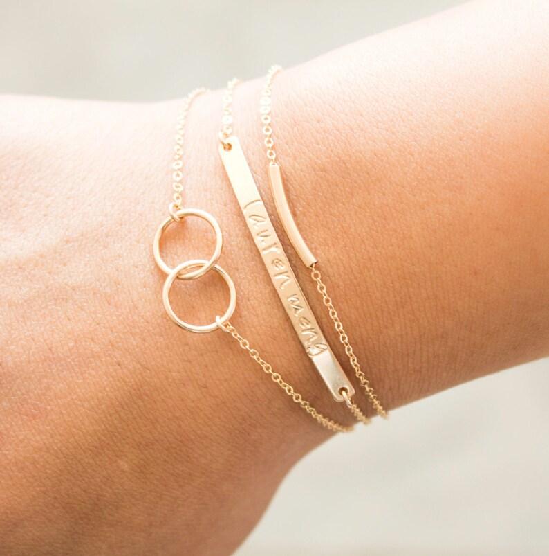 Personalized Bracelet Engraved Bar Bracelets Stacking image 0
