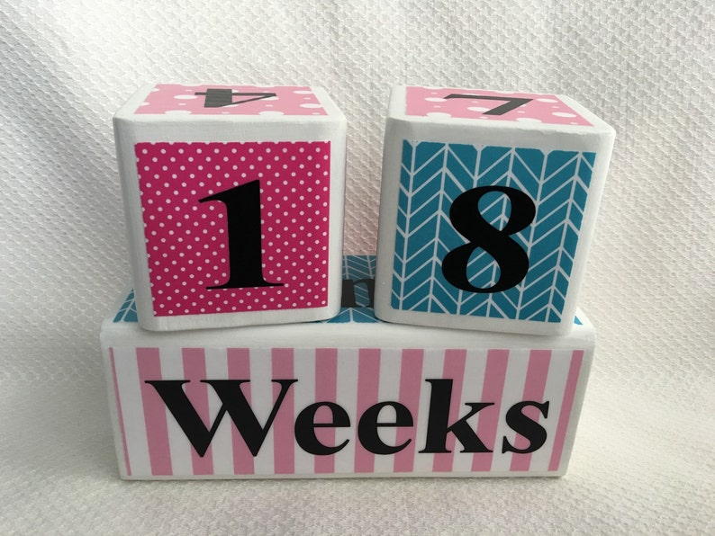 Baby Photo Prop Wooden Age Blocks Maternity Photo Prop Baby Age Blocks Custom Milestone Blocks for Baby and Pregnancy: Pink and Blue