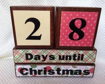 Ready to ship today! Holiday Countdown Blocks Halloween/Christmas-wood blocks-holiday gift-Thanksgiving-Birthday countdown