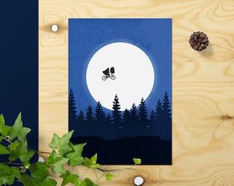 ET Poster Extra Terrestrial Print // ET Print Gift Movie Poster // ET Wall Art 90s Cinema // Steven Spielberg Minimalist Illustration