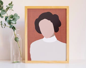 Princess Leia Poster // Star Wars Poster Icon Print // Feminist Wall Art // Minimalist Gift // Princess Leia Art // Carrie Fisher A4