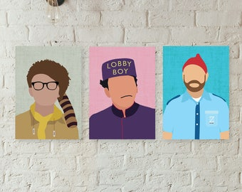 Wes Anderson Poster // Wes Anderson Gift Print Wall Art  // Minimalist Posters // Moonrise Kingdom, Grand Budapest Hotel, Life Aquatic