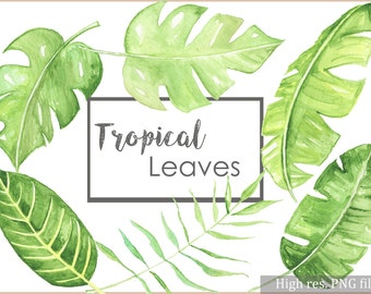 tropical leaves art etsy