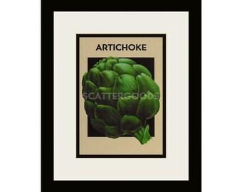 ARTICHOKE Print - Kitchen Wall Decor - Green Vegetable - Food Art Print - Kitchen Gift - Home Decor Print - Seed Packet Art - 8x10 White Mat