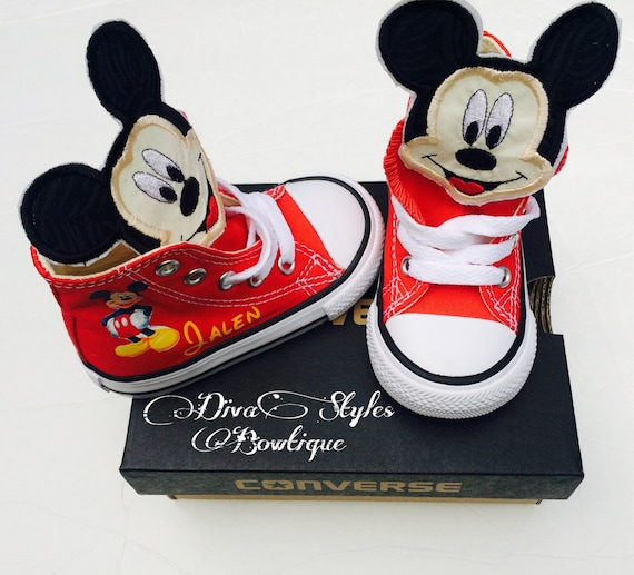 genuine converse with mickey mouse customised tongue | Baby