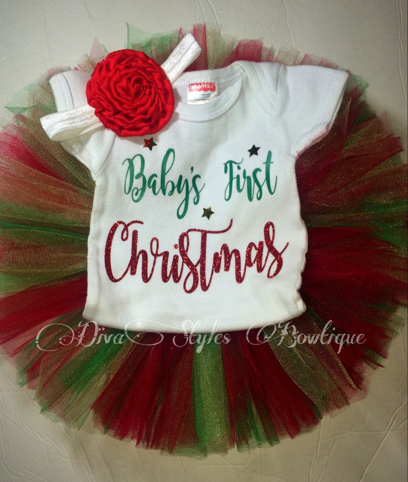 f7e1769bf Christmas Tutu Set first Christmas outfit babys first | Etsy