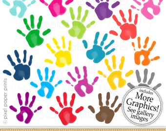 Hand prints clipart - Painted hands - Clip art - commercial use