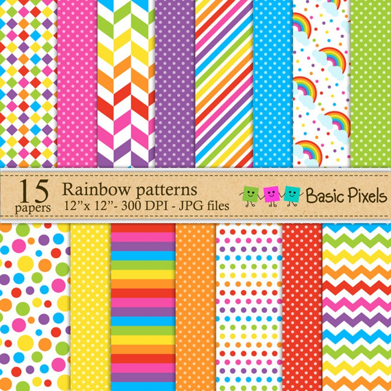 Rainbow digital papers  Patterns  Backgrounds  Personal and image 0