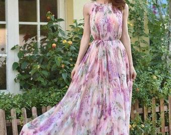 303fd09f5895 110 Colors Chiffon Pink Floral Flower Long Party Evening Wedding  Lightweight Maternity Dress Sundress Summer Dress Bridesmaid Maxi Skirt
