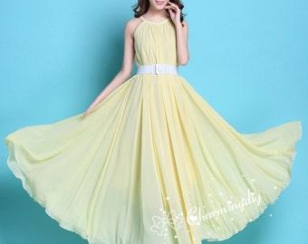 bf243af824e 110 Colors Chiffon Light Yellow Long Party Dress Evening Wedding Sundress  Maternity Summer Holiday Beach Dress Bridesmaid Dress Maxi Skirt