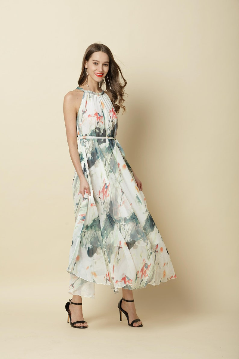 110 Colors Chiffon Flower Long Party Dress Evening Wedding Maternity Lightweight Sundres Holiday Beach Bridesmaid Dress Maxi Skirt J001