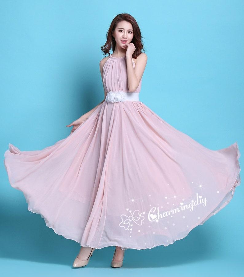 Maternity Dress 110 Colors Chiffon Pink Long Dress Summer Holiday Beach Dress Bridesmaid Dress Maxi Skirt J008