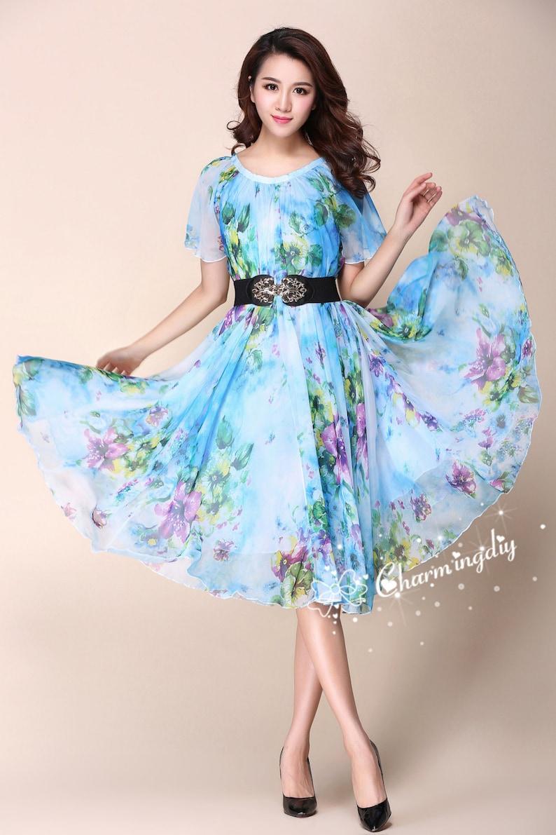 087876e0a61 110 couleurs fleur pourpre bleu en mousseline de soie manches