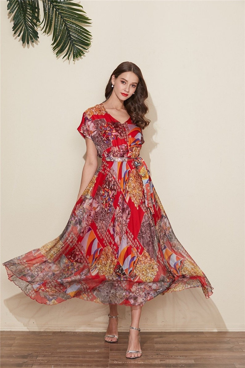 5f6be2d70f8 110 Colors Chiffon Red Short Sleeves Long Party Dress Wedding