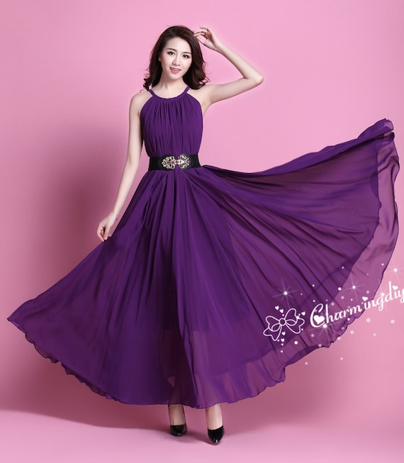 64da0f0d613ea 110 Colors Chiffon Dark Purple Long Party Dress Evening | Etsy