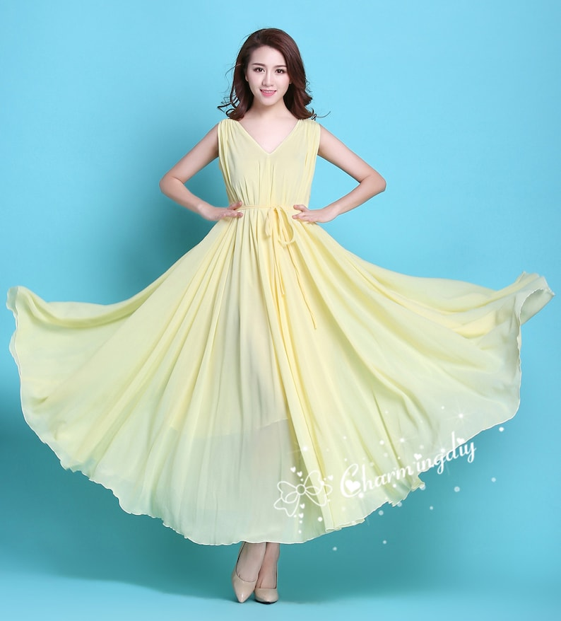 92ed707a53f 110 Colors Chiffon Light Yellow V Neck Long Party Evening