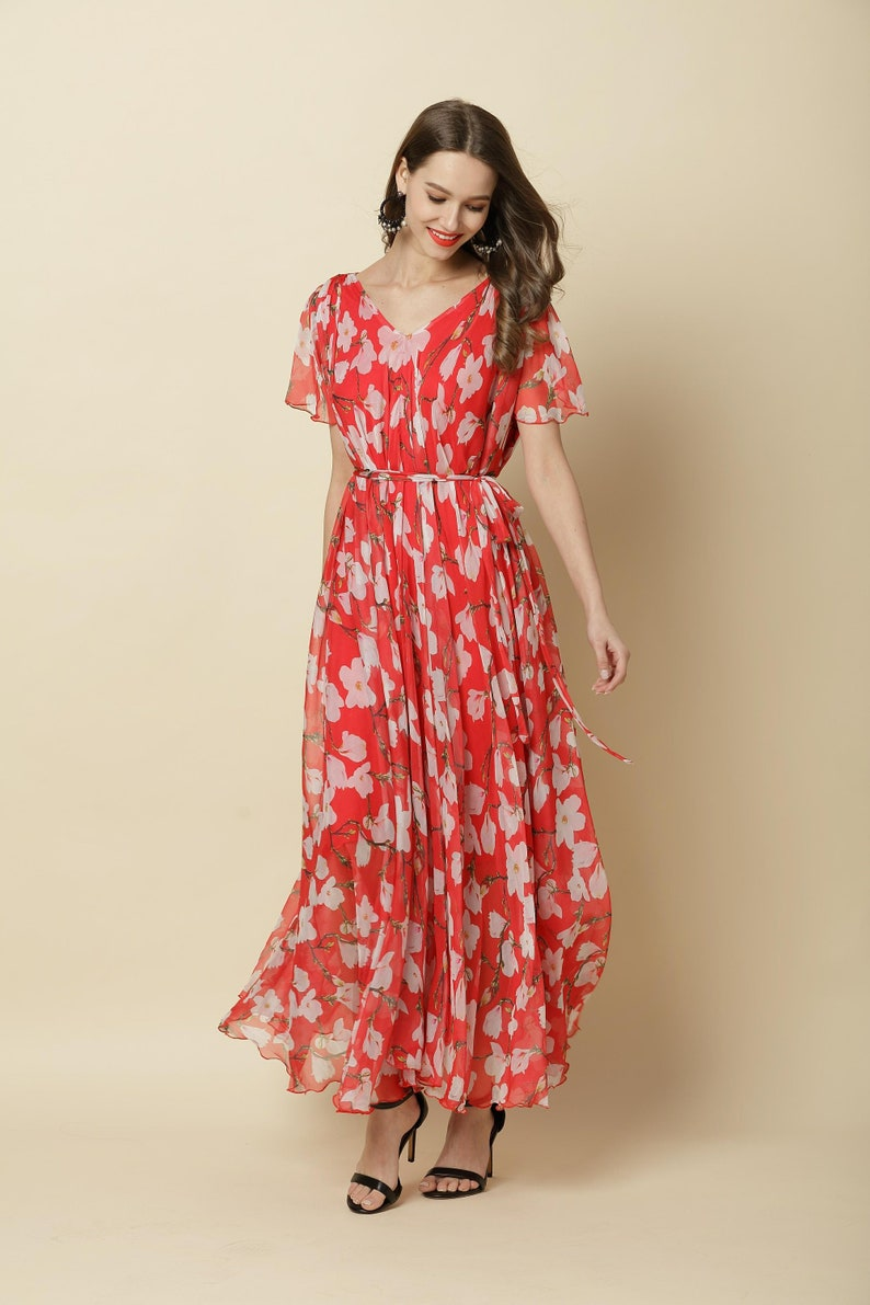 dd55d88665 110 Colors Chiffon Red Flower Long Party Dress Short Sleeve