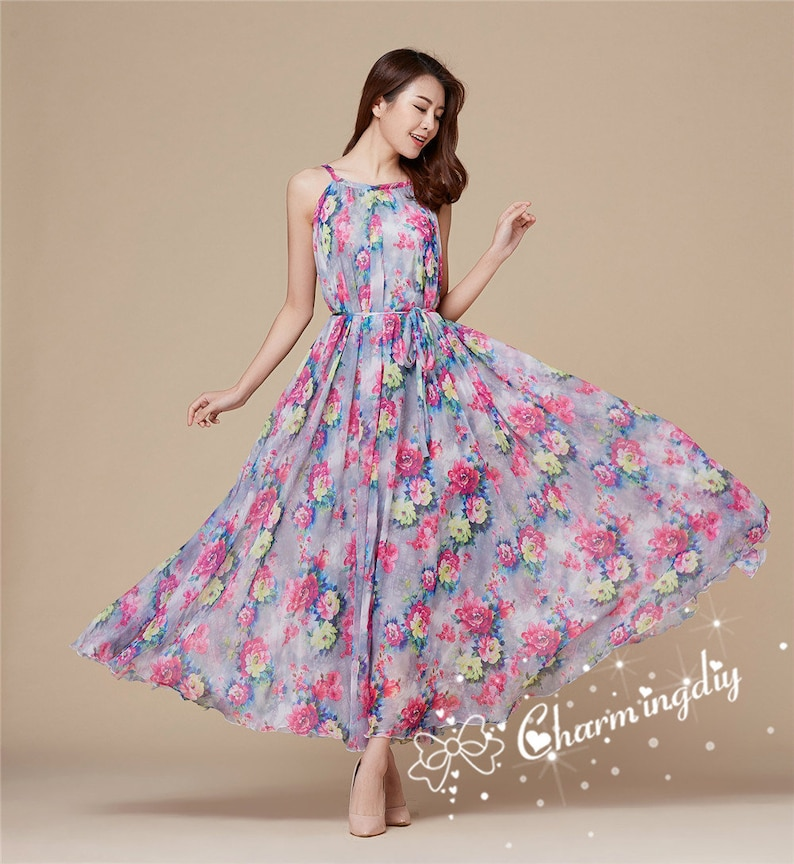 110 Colors Chiffon Gray Pink Flower Long Party Evening Wedding Lightweight  Maternity Dress Sundress Summer Dress Bridesmaid  Maxi Skirt