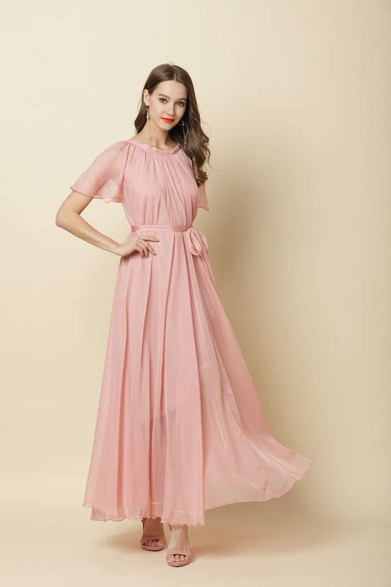 NEW Pink Boutique Ladies Sun State Of Mind Pink Frill Top Chiffon Maxi Dress