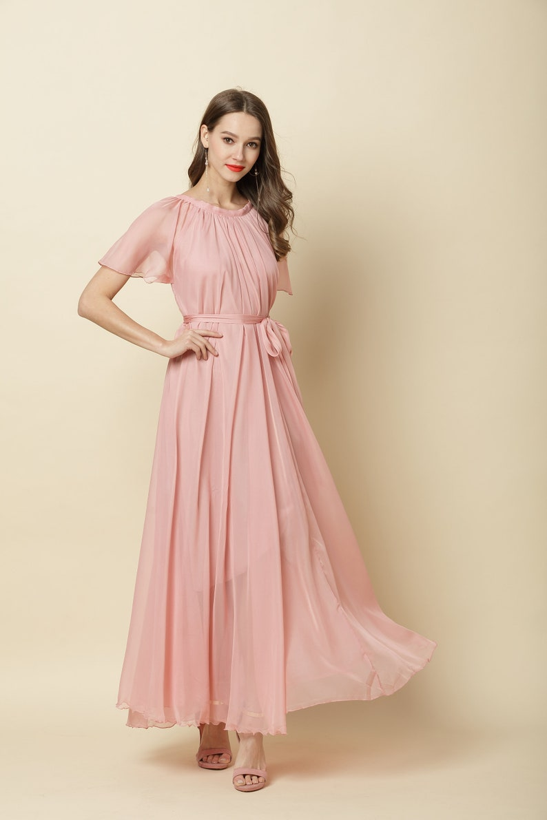 a3991af75646 110 Colors Chiffon Blush Pink Short Sleeve Long Party Dress | Etsy