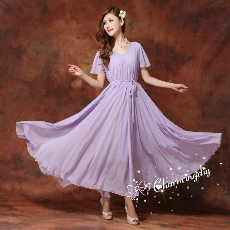 aa01ff5e990a 110 Colors Chiffon Light Purple Long Party Dress Short Sleeve | Etsy