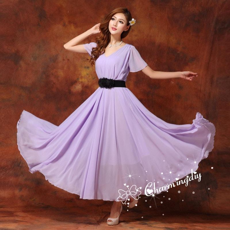 77e26ce64c30 110 Colors Chiffon Light Purple Long Party Dress Short Sleeve