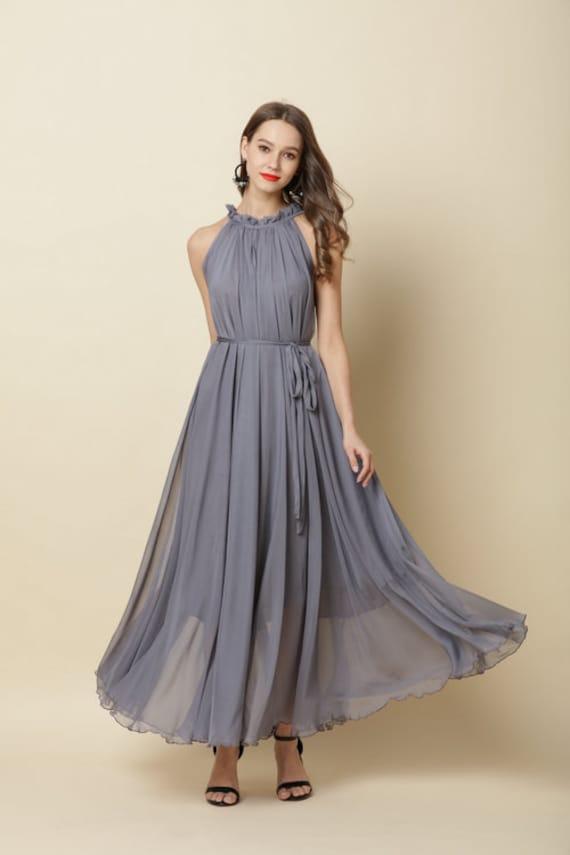 110 Color Chiffo Grey Long Party Dress Evening Wedding Sundress Maternity Dress Summer Holiday Beach Dress Bridesmaid Dress Maxi Skirt