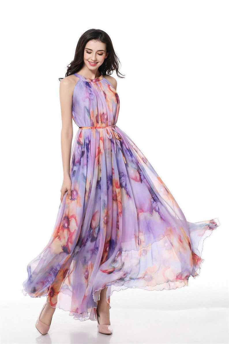 84eff3172d12 90 Colors Chiffon Purple Floral Flower Long Party Evening
