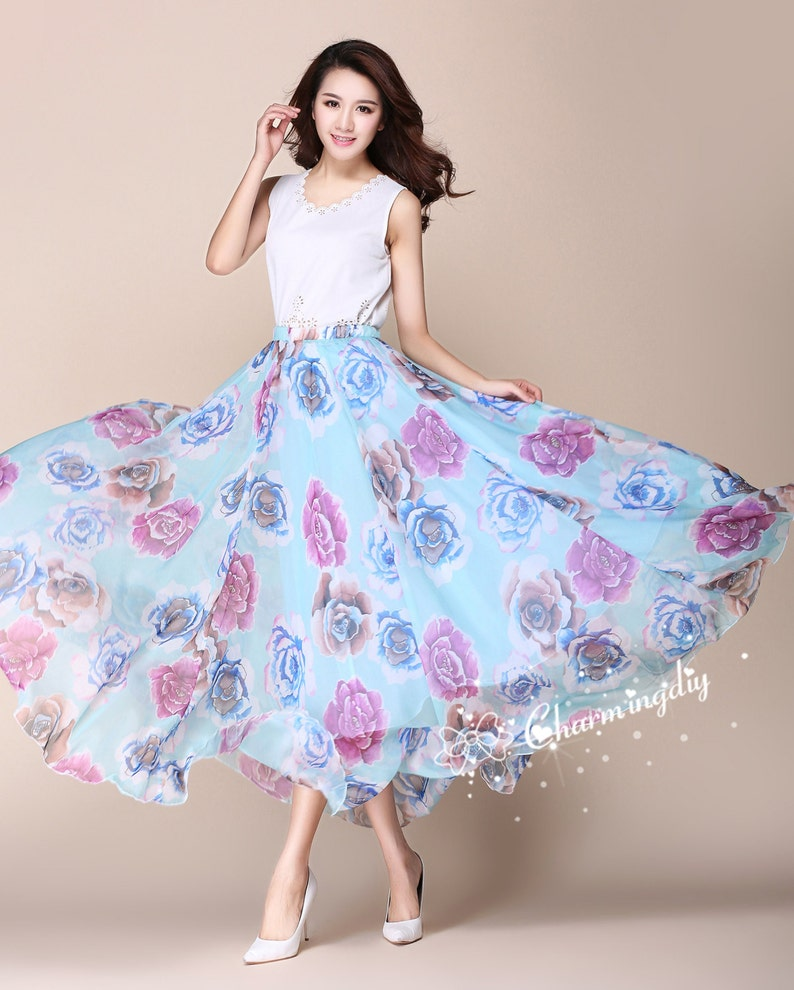 47ee7a9e58 110 Colors Chiffon Skirt Long Maxi Sundress Beachdress Holiday