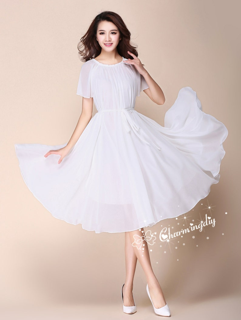 eb5ae31d1f3 110 Colors Chiffon White Short Sleeve Knee Skirt Party Evening
