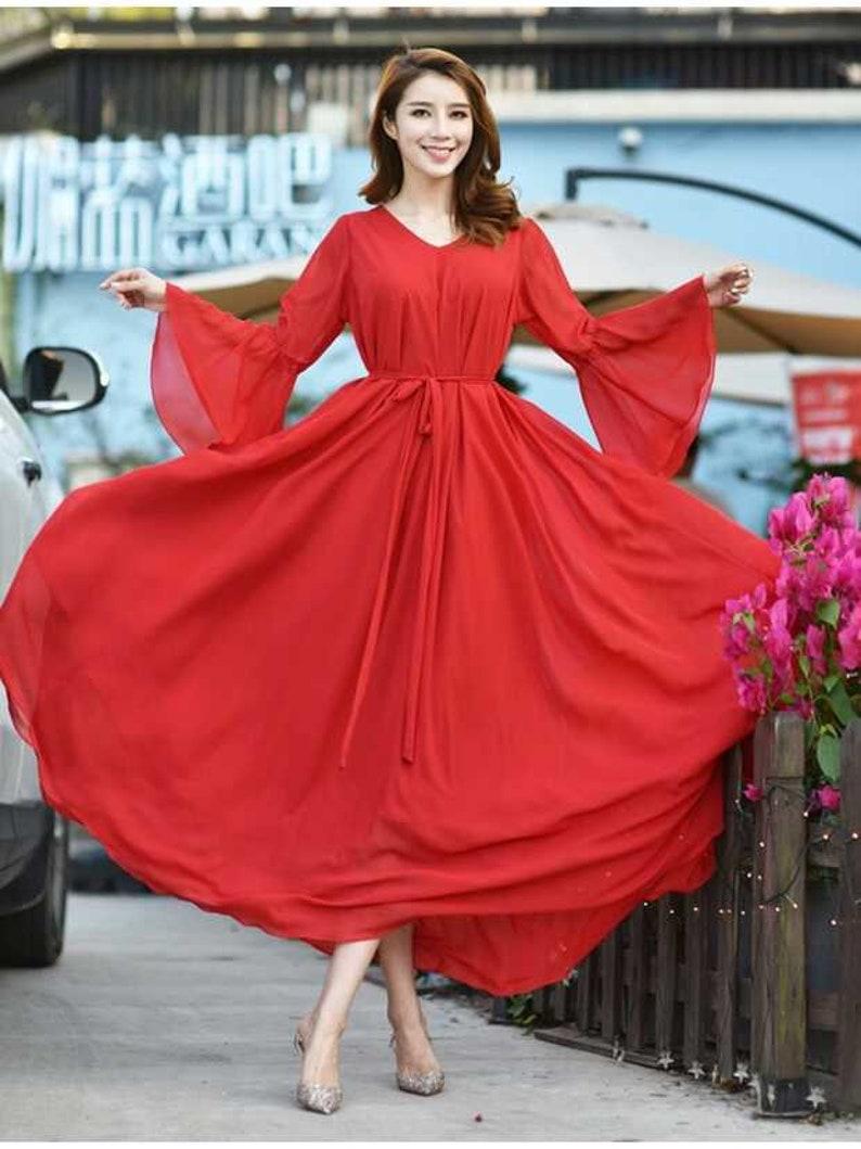 4da625a696 110 Colors Chiffon Red Long Party Dress Long Sleeve Evening | Etsy