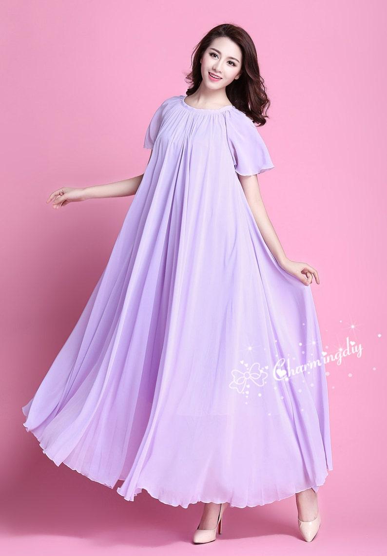 dbb243ea5ad8 110 Colors Chiffon Light Purple Short Sleeve Long Party Dress | Etsy