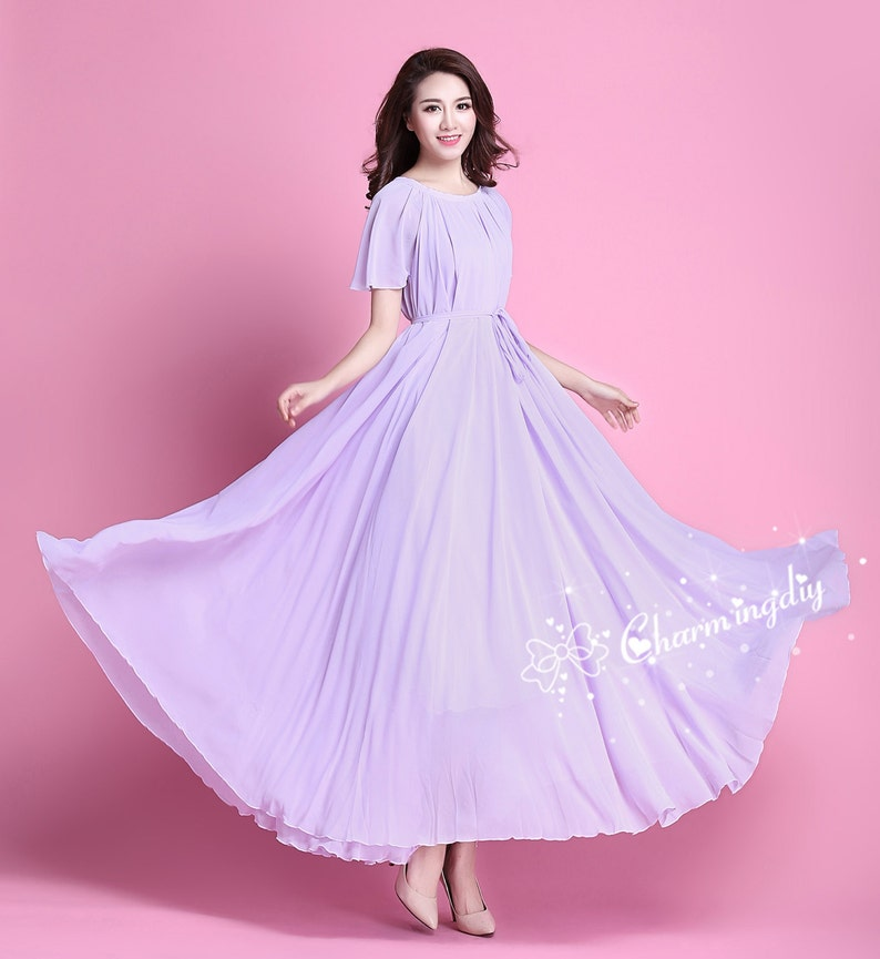b009cd908b 110 Colors Chiffon Light Purple Short Sleeve Long Party Dress | Etsy