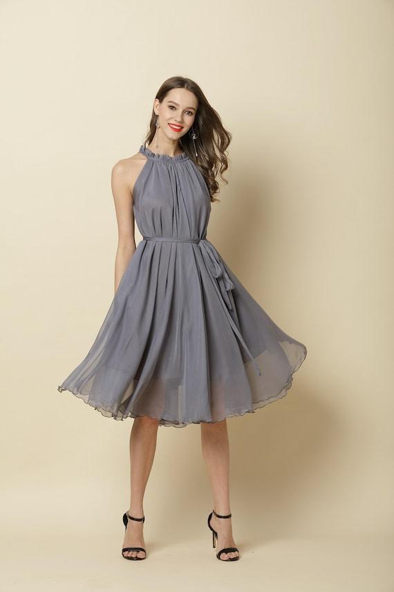 110 Colors Chiffon Grey Knee Party Dress Evening Wedding Maternity Dress Sundress Summer Holiday Beach Dress Bridesmaid Skirt