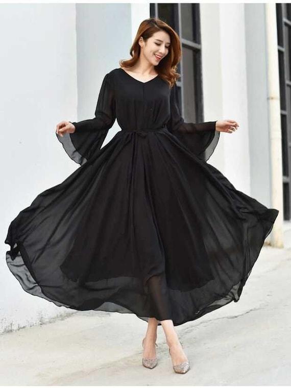 110 Colors Chiffon Black Long Party Dress Long Sleeve Evening Wedding Sundress Summer Holiday Beach Dress Bridesmaid Maxi Skirt
