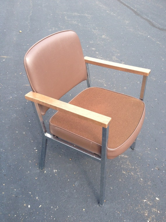 vintage mid century office side chair wood arms by delwood etsy