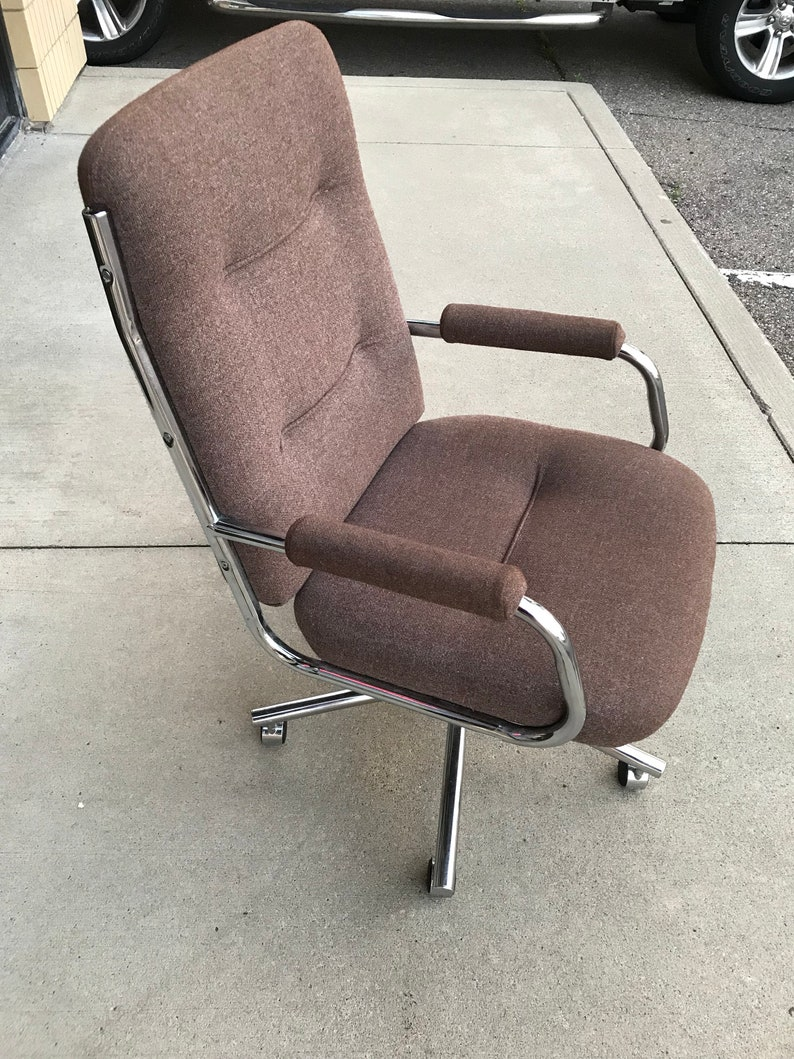 Mid Century Modern 70s Chrome Tweed Adjustable Office Chair