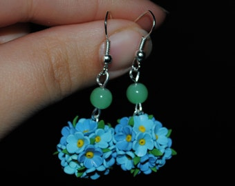 Polymer clay forget-me-not earrings