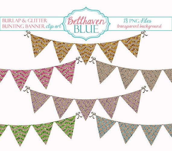Burlap And Glitter Bunting Banner Clipart