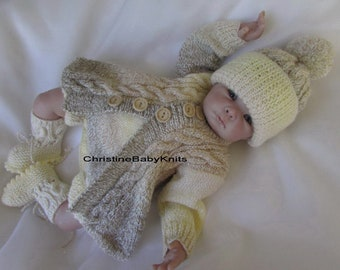 feae45914 Samuel - Variegated 4 Piece Hand Knitted Outfit for 0-3 mths Baby Boy or  19-20