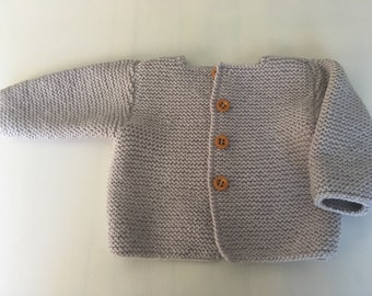 Hand knitted baby boy/ girl Cardigan long sleeves -Ghost Colour -  MERINO Wool- New item- STYLE#5