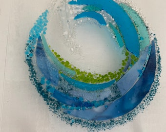 Fused Glass Wave with stand-off mounts