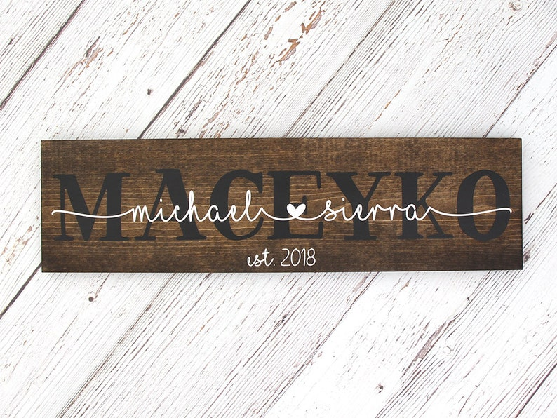 Personalized Couples Name Sign Est. Date Sign Last Name